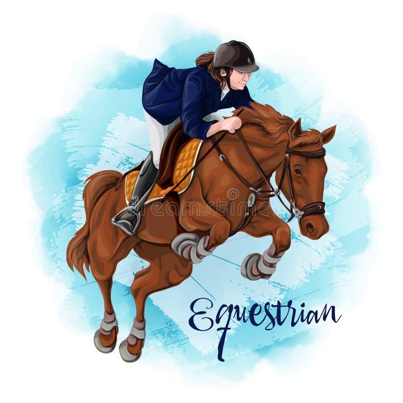 Kobiety horseback jazda dressage equestrian ko?scy konie target491_1_ polo je?dz?w sylwetki bawj? si? wektor ilustracji
