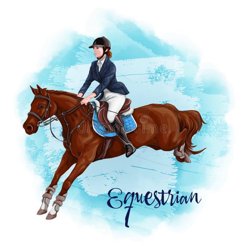 Kobiety horseback jazda dressage equestrian ko?scy konie target491_1_ polo je?dz?w sylwetki bawj? si? wektor royalty ilustracja