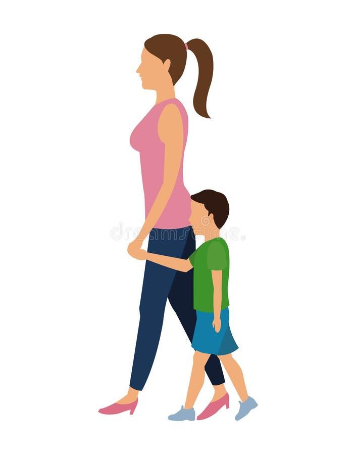 Kobiety i dziecka odprowadzenia projekt ilustracja wektor