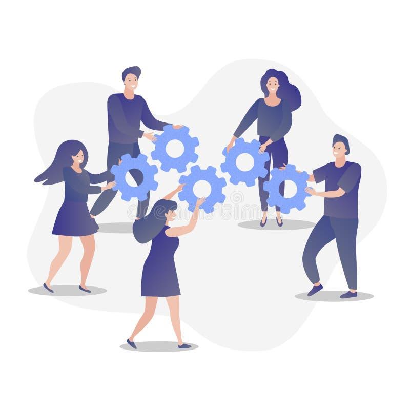 Kobiety i mężczyzna praca zespołowa z przekładniami Symbol praca zespołowa, cooperatio i partnerstwo, biznesowa metafora ilustracja wektor