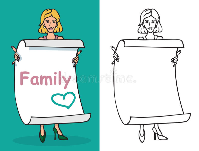 Kobiety i prześcieradła papier z wpisową rodziną royalty ilustracja