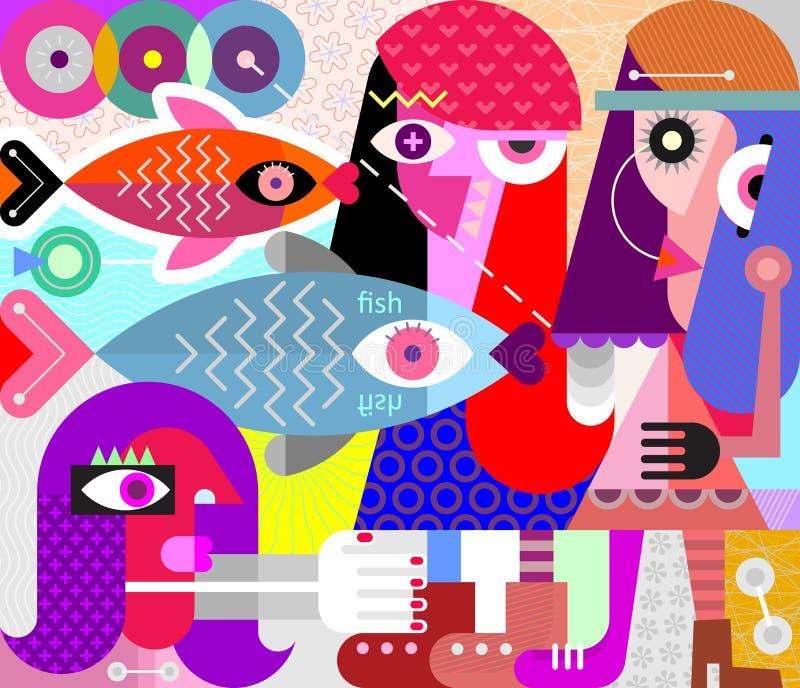Kobiety i Rybia wektorowa ilustracja ilustracji