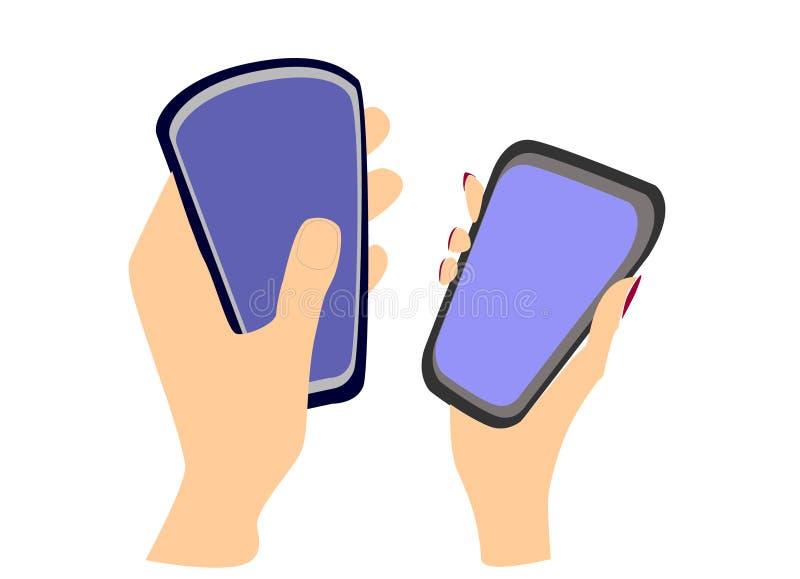 Kobiety i samiec ręki z smartphones P?aski projekt r?wnie? zwr?ci? corel ilustracji wektora ilustracji