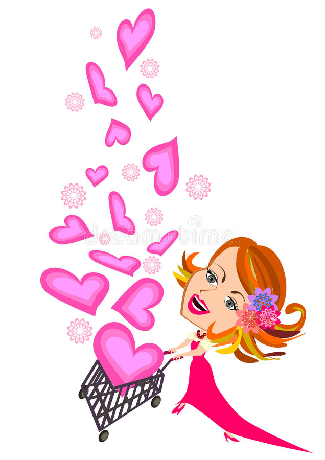 Kobiety i wózek na zakupy valentine chwytający serce ilustracji