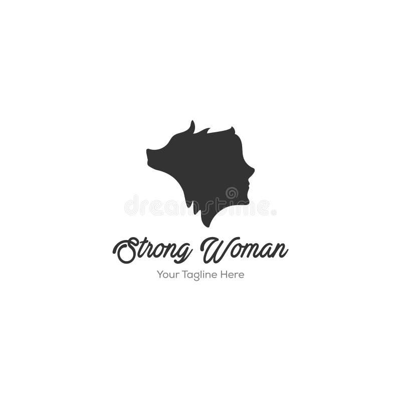 Kobiety i wilka logo projekty ilustracja wektor
