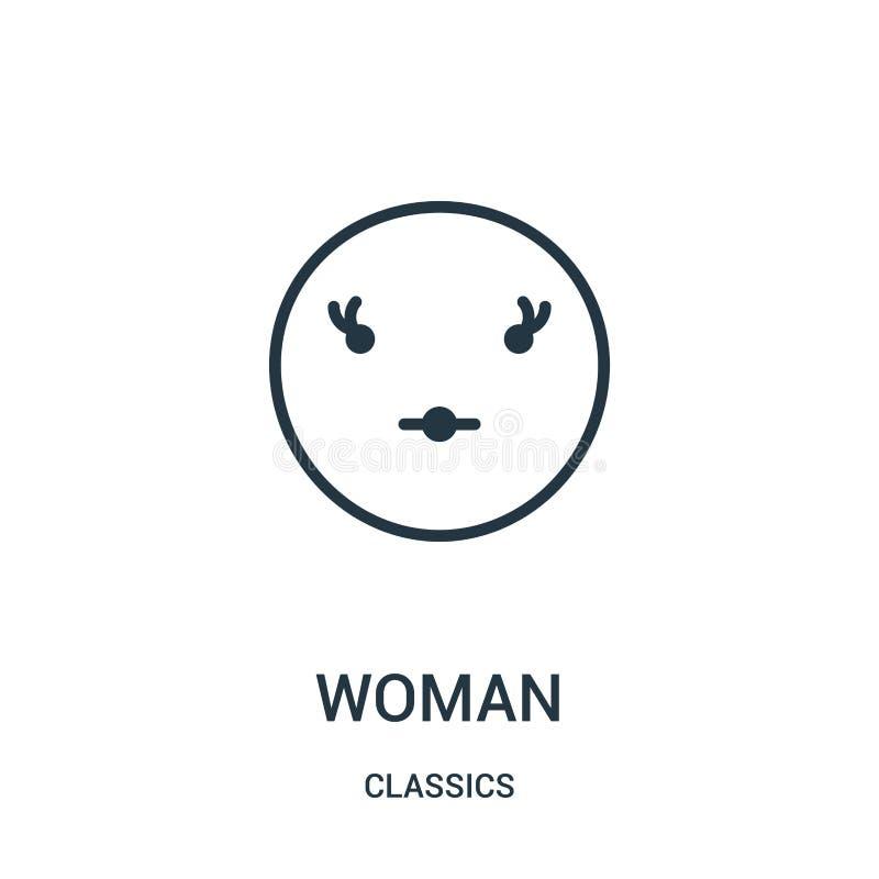 kobiety ikony wektor od klasyków inkasowych Cienka kreskowa kobieta konturu ikony wektoru ilustracja Liniowy symbol ilustracja wektor