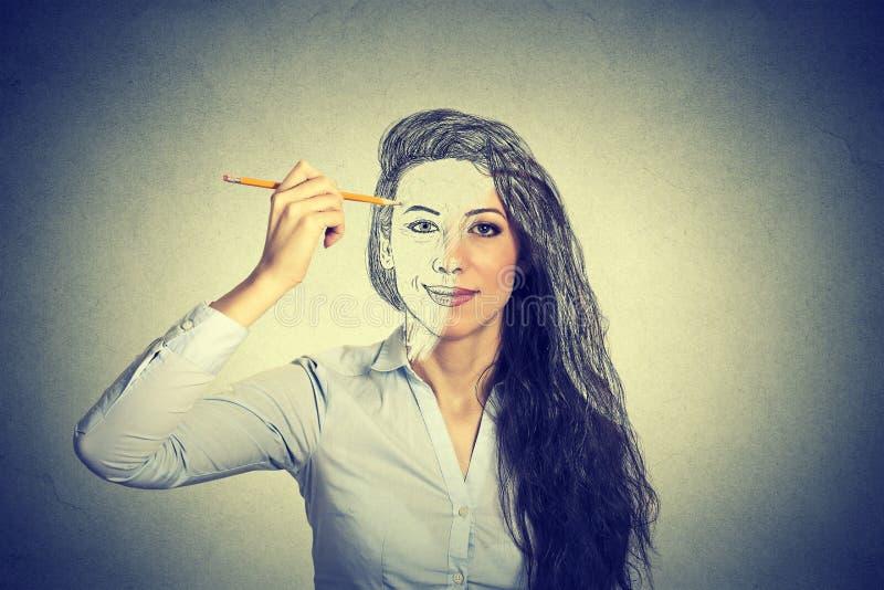 Kobiety jaźni rysunkowy portret z ołówkiem