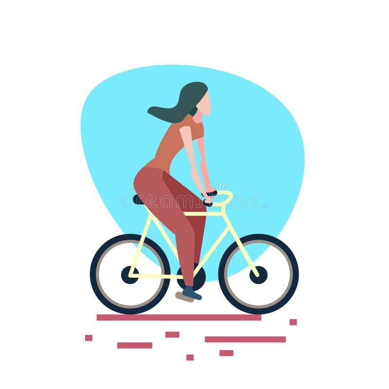 Kobiety jazdy roweru białego tła sporta aktywności żeński postać z kreskówki folował długości mieszkanie ilustracji