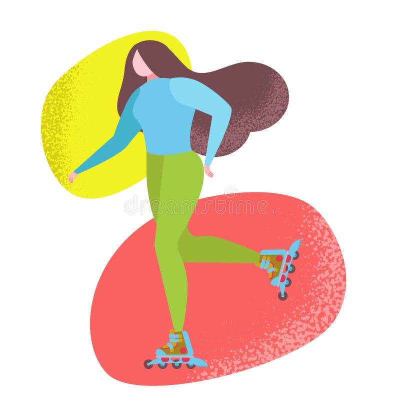 Kobiety jechać rolkowe łyżwy w parku royalty ilustracja