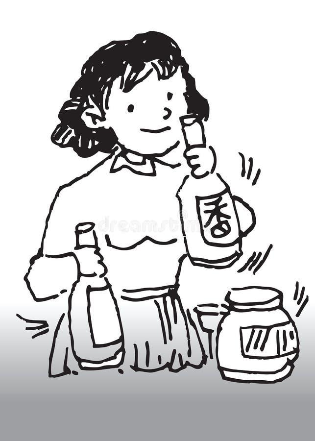 Kobiety jedzenie kulinarny Chiński ilustracji