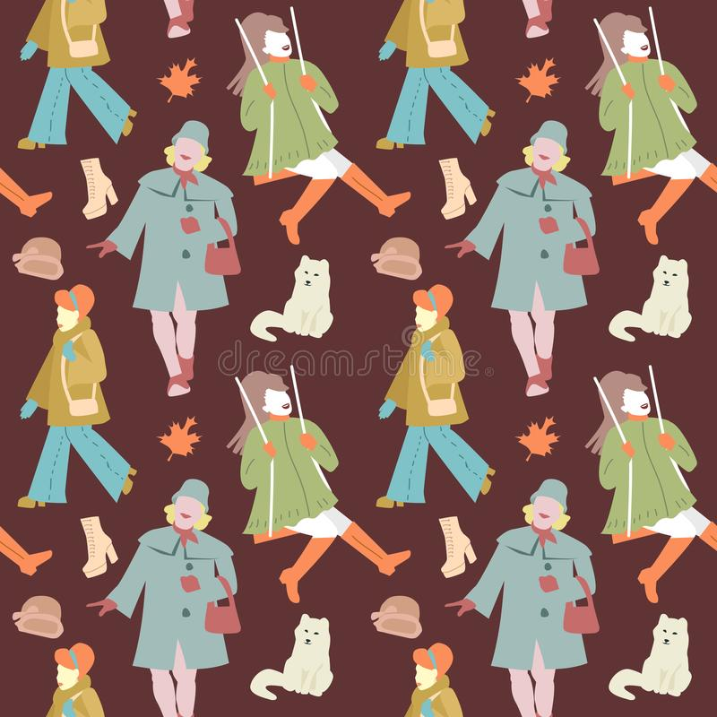 Kobiety jesieni Retro mody Bezszwowy wzór royalty ilustracja