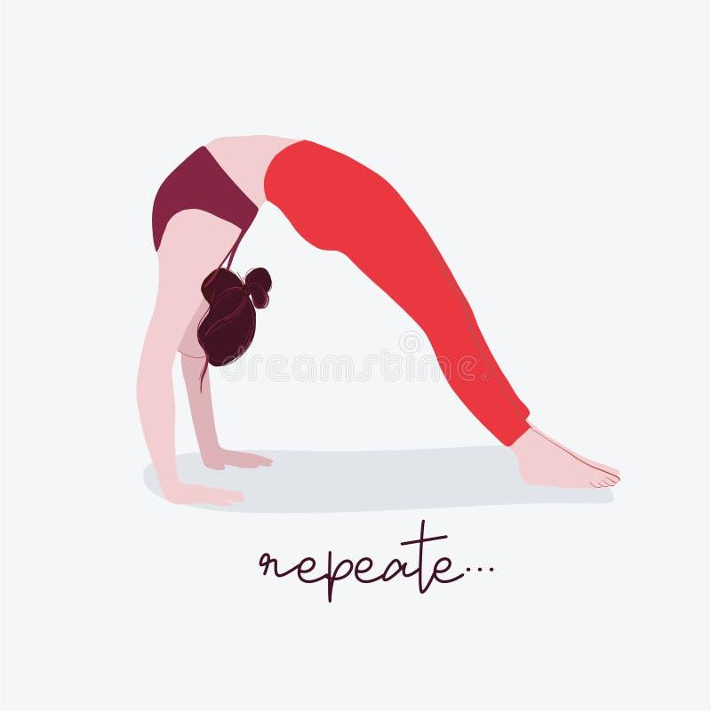 Kobiety joga ilustracja z typografią Płaska ilustracyjna żeńska sport wycena Ćwiczenie aktywności medytacja oddycha pozę ilustracji