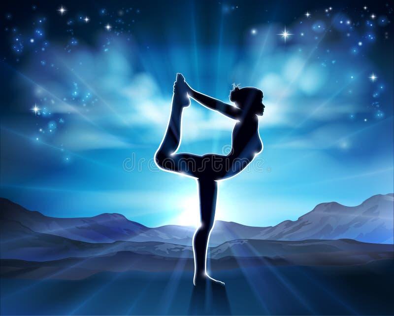 Kobiety joga Pilates pozy sylwetki tło royalty ilustracja