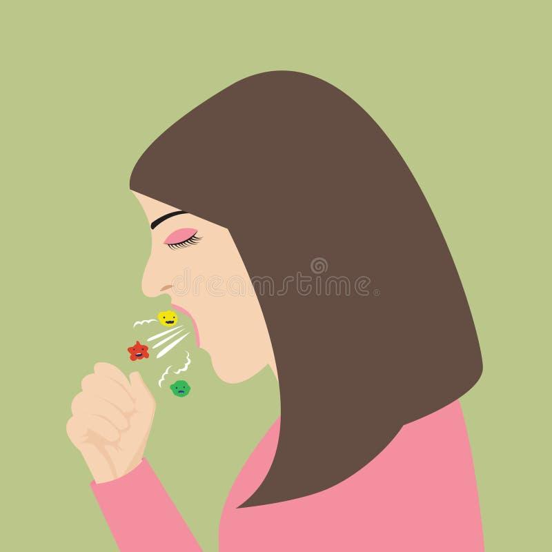 Kobiety kasłania kichnięcia podesłania wirusa grypa ilustracji