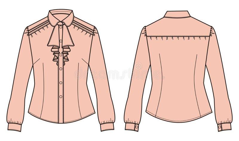Kobiety klasyczna biznesowa koszula z długimi rękawami i koszulowym przodem ilustracji