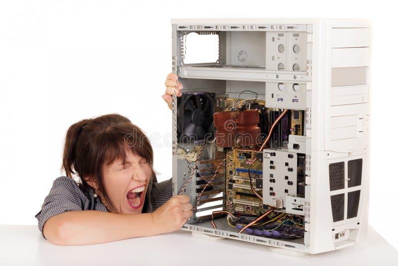Kobiety komputeru histeria zdjęcie stock