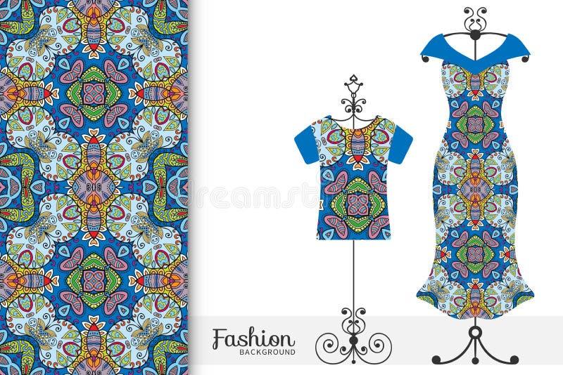 Kobiety koszulka na wieszaku z bezszwowym geometrycznym wzorem i suknia Wektorowa mody ilustracja royalty ilustracja