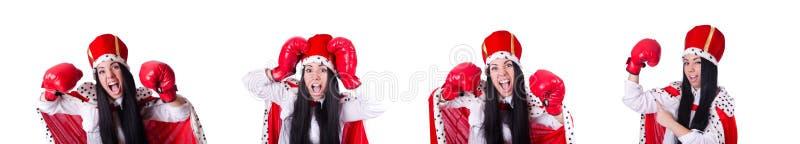 Kobiety królowa z bokserskimi rękawiczkami obrazy royalty free