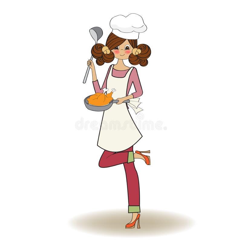 Kobiety kucharstwo ilustracja wektor
