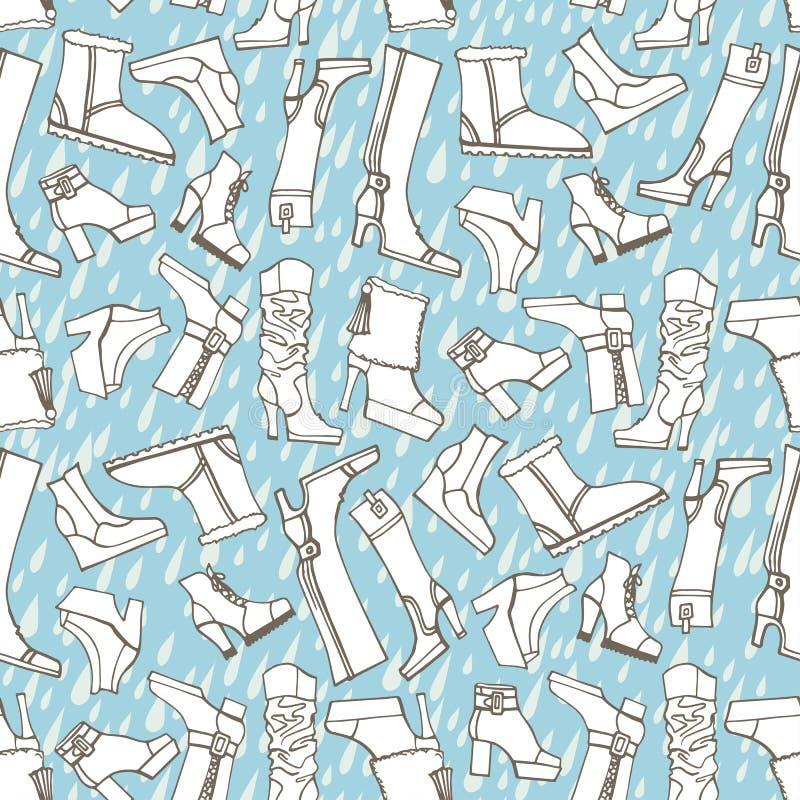 Kobiety kują, buty, deszczu bezszwowy wzór kontur ilustracja wektor