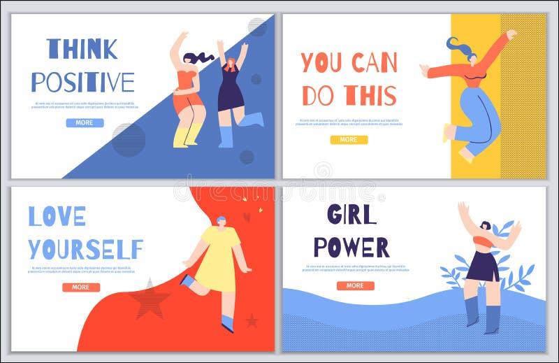 Kobiety lądowania strony Inspiracyjny set w mieszkanie stylu ilustracja wektor
