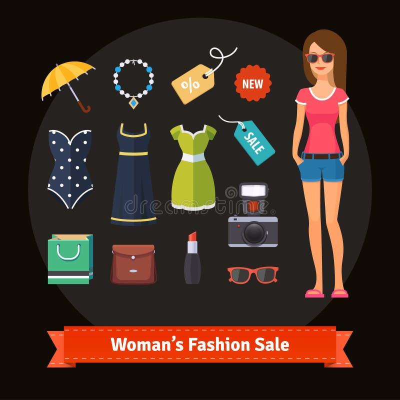 Kobiety lata mody sprzedaż ustawiająca z modelem ilustracja wektor