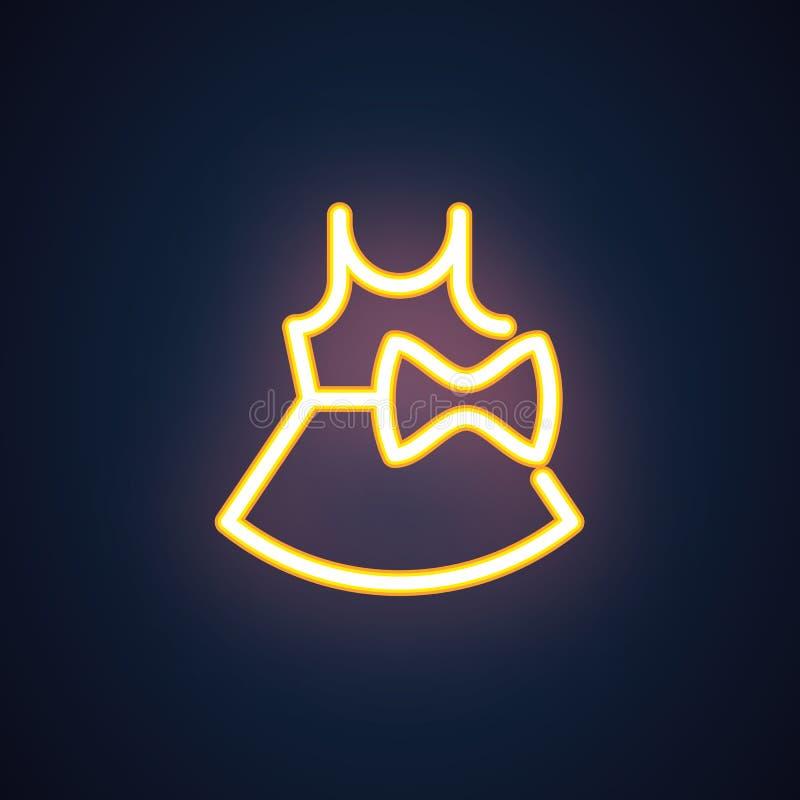 Kobiety lata suknia z łęk żółtą neonową ikoną Dam sundress, żeńscy przypadkowi ubrania dla partyjnej etykietki Wektor Odizolowywa ilustracja wektor