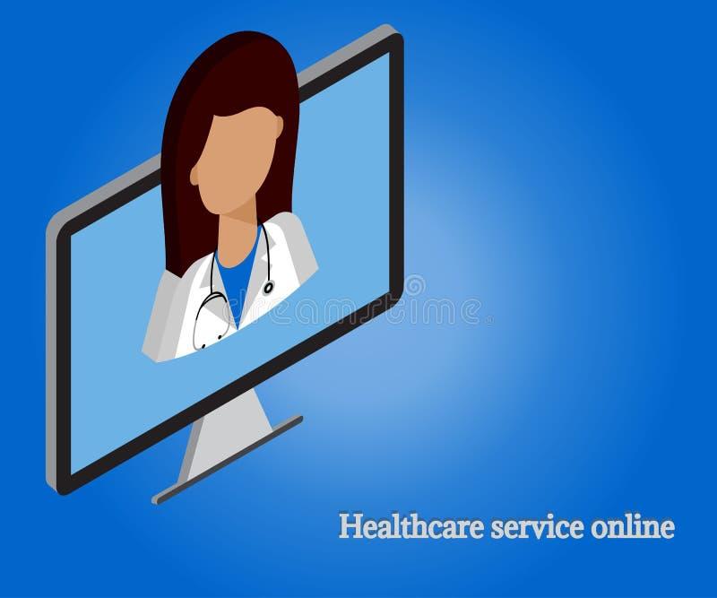 Kobiety lekarka, komputer 3d isometric 1 royalty ilustracja