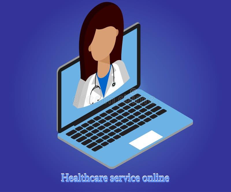 Kobiety lekarka, laptop 3d isometric 1 ilustracji