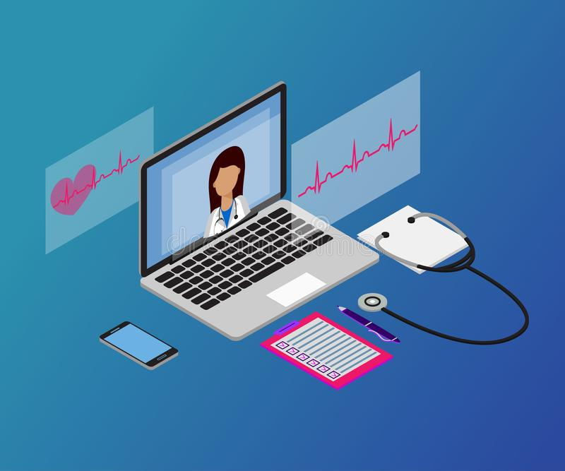 Kobiety lekarka, laptop, 3d 3-1 isometric stet ilustracji