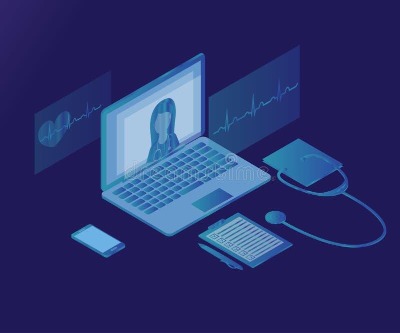 Kobiety lekarka, laptop, 3d stet isometric lód 1 ilustracji