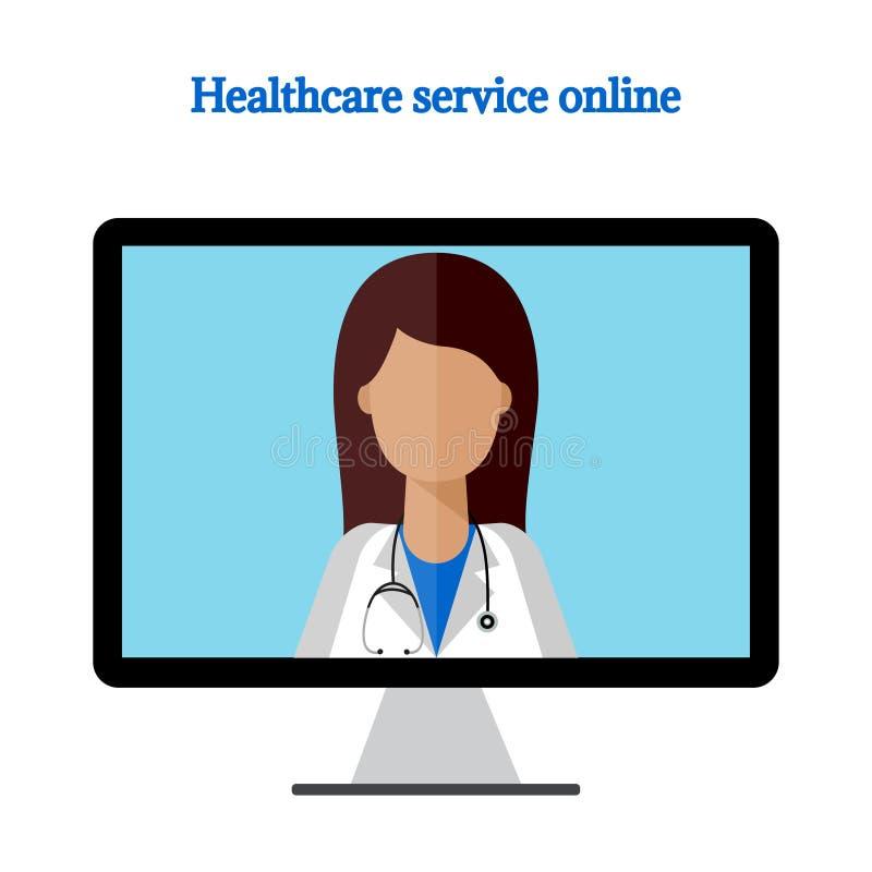 Kobiety lekarka na komputerowej monitor ikonie royalty ilustracja