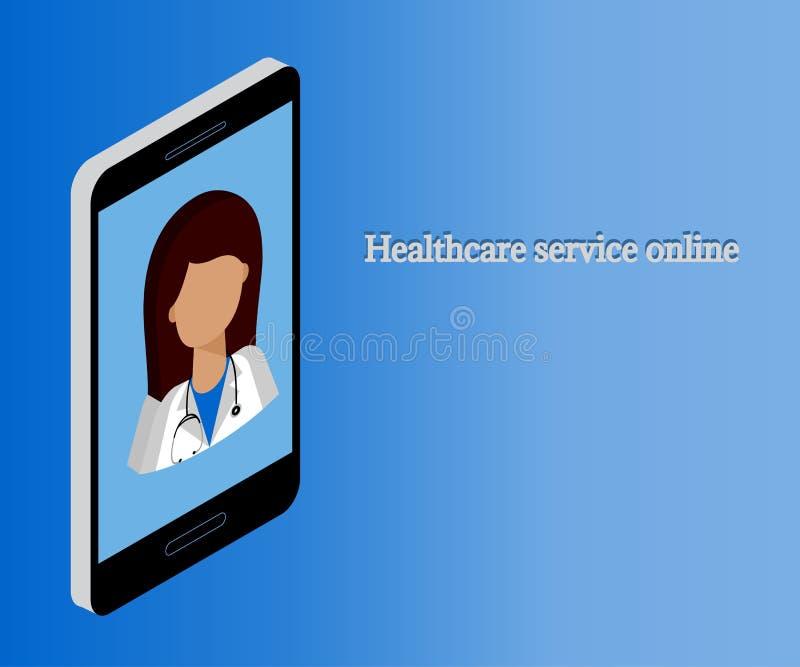 Kobiety lekarka, smartphone, 3d isometric 1 ilustracji
