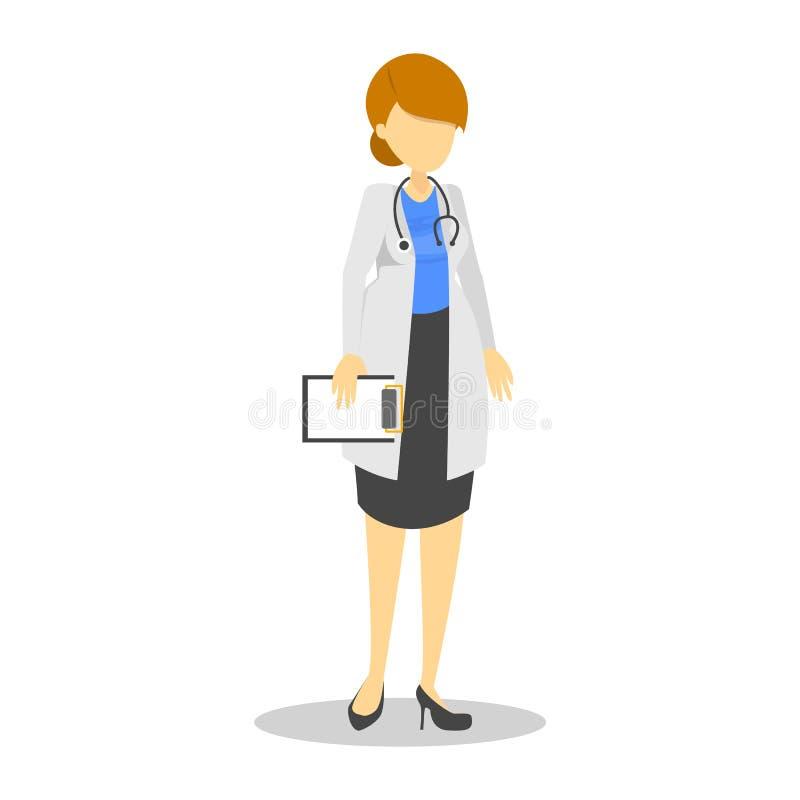 Kobiety lekarka w białej żakiet pozycji Medyczny charakter royalty ilustracja