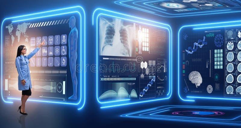 Kobiety lekarka w futurystycznym medycznym pojęciu obrazy royalty free