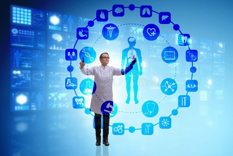 Kobiety lekarka w telemedicine futurystycznym pojęciu zdjęcia stock