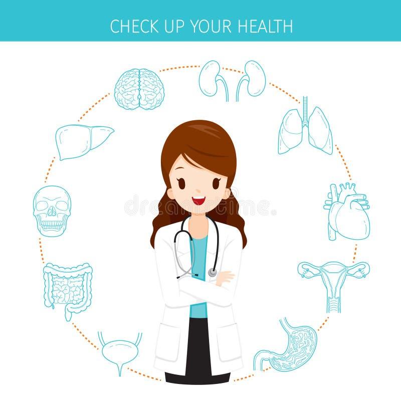 Kobiety lekarka Z Ludzkimi Wewnętrznych organów Kreskowymi ikonami Ustawiać ilustracja wektor
