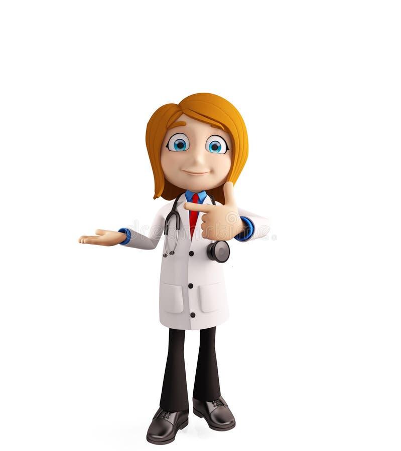 Kobiety lekarka z prezentaci pozą ilustracja wektor