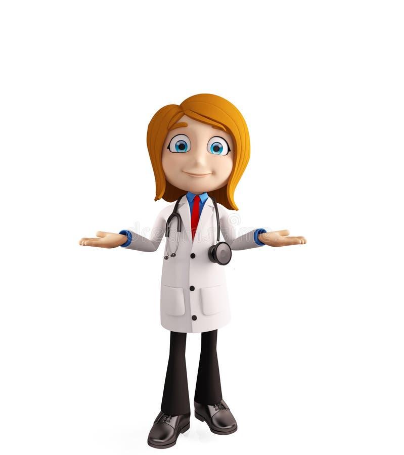 Kobiety lekarka z prezentaci pozą ilustracji