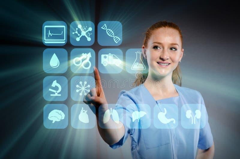 Kobiety lekarki odciskanie zapina z różnorodnymi medycznymi ikonami ilustracji