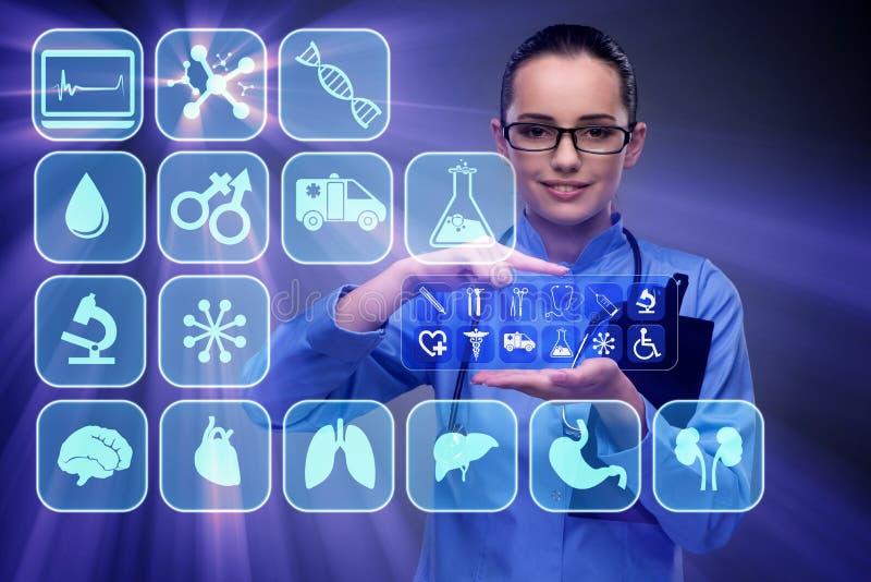 Kobiety lekarki odciskanie zapina z różnorodnymi medycznymi ikonami ilustracja wektor