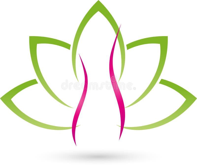 Kobiety, liści, rośliny, wellness i kobiety doktorski logo, royalty ilustracja