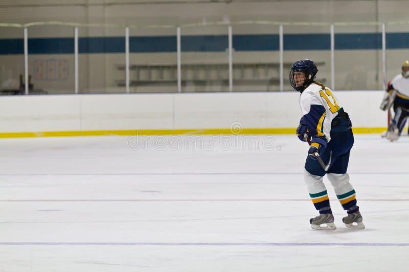 Kobiety lodowy gracz w hokeja podczas gry obraz royalty free