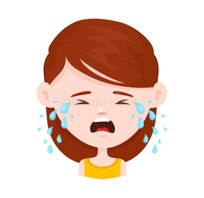 Kobiety młodej dziewczyny płacz Wektorowy mieszkanie ilustracji