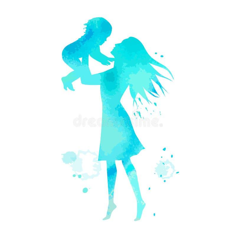 Kobiety małe dziecko z akwareli cyan teksturą i sylwetka ilustracji