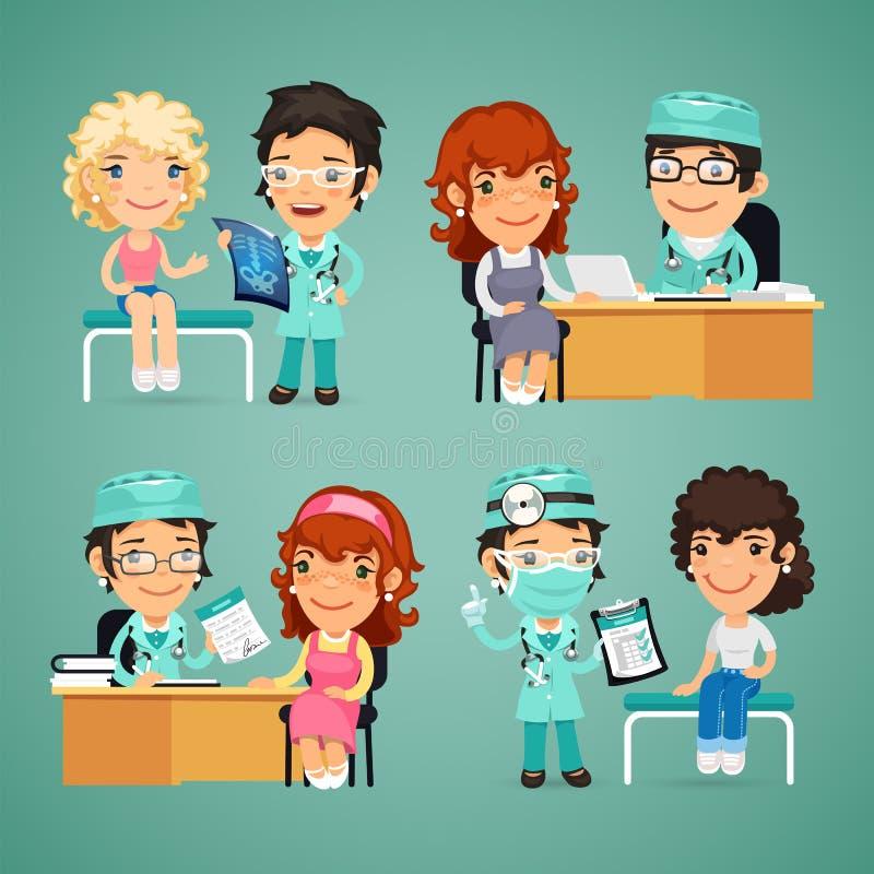 Kobiety Ma Medyczną konsultację w lekarkach ilustracja wektor
