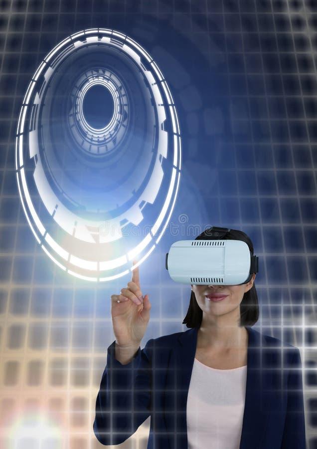 Kobiety macania okręgu interfejs z rzeczywistości wirtualnej słuchawki ilustracji