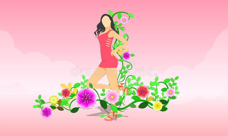 8 kobiety Marcowy dzie? damy statywowy dzia?anie jak gwiazdowa poza woko?o z kwiatami Wektorowa ilustracja EPS10 ilustracji