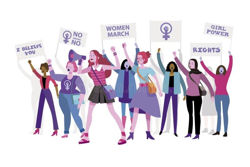 Kobiety maszerują protestować ich dobra i windykować royalty ilustracja