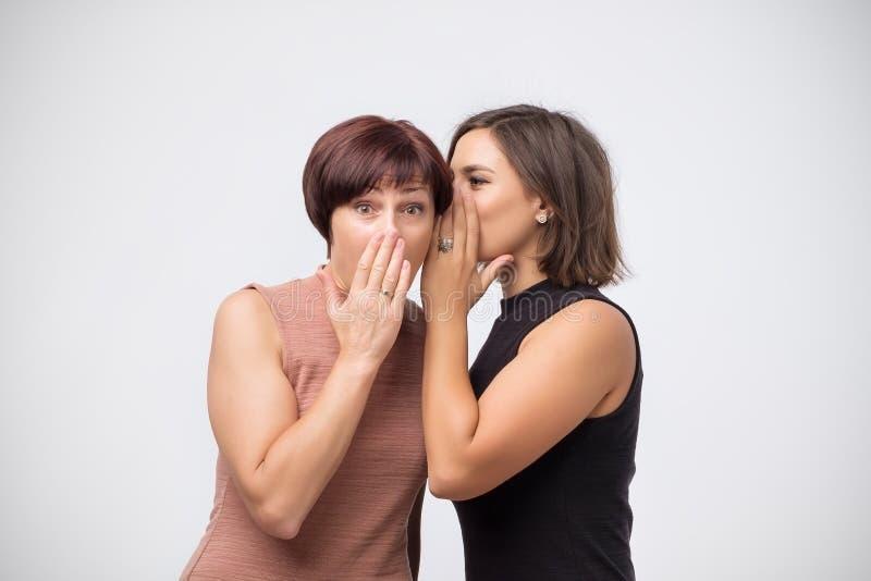 Kobiety matka i córka plotkuje sekret i mówi obraz stock